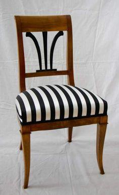 Set of 6 Biedermeier Chairs. Great fabric!