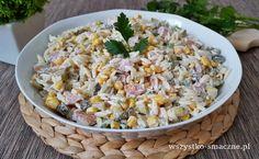 Sałatka z kurczakiem wędzonym - WSZYSTKO SMACZNE Nom Nom, Salads, Grains, Rice, Vegetables, Recipes, Food, Pesto, Diet