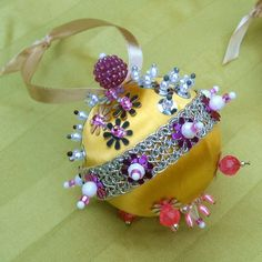 60s Beaded Christmas Ornament Yellow Pink Silver III. $5.00, via Etsy.