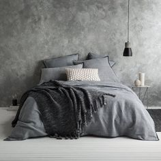 Shop Dark Gray Duvet Cover by AanyaLinen. This Dark Gray Duvet Cover helps to make your Ambiance so wonderful & colorful. Master Bedroom Design, Home Decor Bedroom, Modern Bedroom, Bedroom Wall, Bedroom Ideas, Bedroom Designs, Modern Bedding, Bedroom Furniture, Furniture Ideas