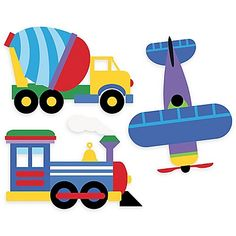 Wallies Olive Kids Trains, Planes, Trucks Peel & Stick Wall Decals create a colorful and fun transportation scene on your little one's wall. Get creative and place them wherever you like. The decals includes a train, plane, and 4 trucks. Baby Wall Stickers, Truck Stickers, Wall Stickers Murals, Vinyl Wall Decals, Wall Murals, Truck Decals, Baby Wall Decor, Nursery Decor, Nursery Room