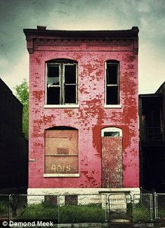 Boarded up: Meek took pictures of the empty properties using his iPhone then uploaded them onto Instagram
