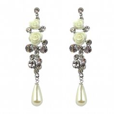Bride Boutique Bridal Wedding Silver Crystal Diamante Pearl Vintage Style Drop Dangle Earrings 0OivkR8f