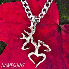 Buck and Doe heart Necklace Quarter no rim hand cut coin on Etsy, $34.99