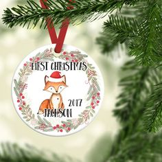 New Ideas Baby Boy Christmas Ornament Babys 1st Christmas, Baby First Christmas Ornament, Personalized Christmas Ornaments, Christmas Time, Baby Boys, Baby Boy Gifts, Fox Ornaments, How To Make Ornaments, Holiday Wreaths