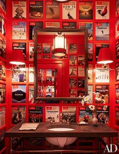 Partial owners of The Economist, Sir Evelyn and Lady de Rothschild had the walls of a powder room lined in covers of the magazine.