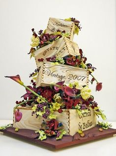 French wine crate cake with crates and flowers! Unusual Wedding Cakes, Unique Cakes, Creative Cakes, Crazy Cakes, Fancy Cakes, Gorgeous Cakes, Pretty Cakes, Amazing Cakes, Cupcakes
