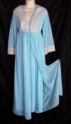 Vintage Lingerie 1960s G M C Aqua Nightgown by ReallyCoolClothes, $49.95
