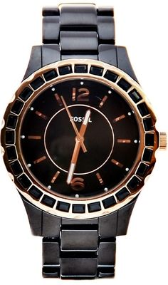 #Fossil #Watch Women CE1069 Black Ceramic Rose Gold Crystals Watch NEW