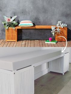 Love this Kmart hack to turn their outdoor bench and planter box into an internal bench and storage unit. The white paint gives it a real Hamptons vibe. Check out all 20 of our favourite 20 Kmart hacks EVER #kmarthack #kmarthacks