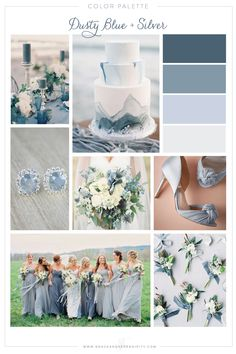 Wedding colors blue - Dusty Blue and Silver Wedding Color Palette by Grace and Serendipity Silver Wedding Colours, Beach Wedding Colors, Wedding Color Schemes, Spring Wedding Colors Blue, Wedding Color Palettes, Vintage Beach Weddings, Grey Bridesmaid Dresses, Wedding Bridesmaids, Blue Bridesmaids