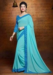 Party Wear Georgette Sky Blue Lace Border Work Saree