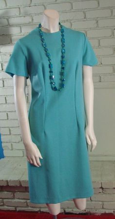 Vintage 70s Forever Young Acrylic Blue Dress L by TheScarletMonkey