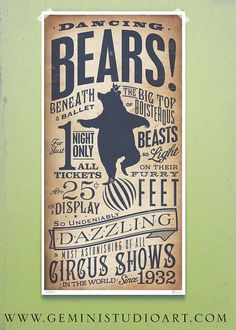 Circus Dancing Bear vintage style childrens graphic artwork giclee archival signed artists print by Stephen Fowler PIck A Size on Etsy, $18.00