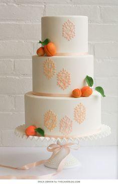 Peach String Art Cake | by Erica OBrien for TheCakeBlog.com
