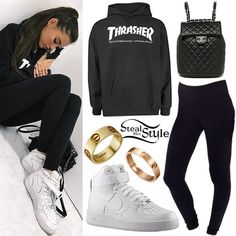 newest bba54 1acb6 Madison Beer  Thrasher Hoodie, High-Top Sneakers Thrasher Outfit, Hoodie  Outfit,