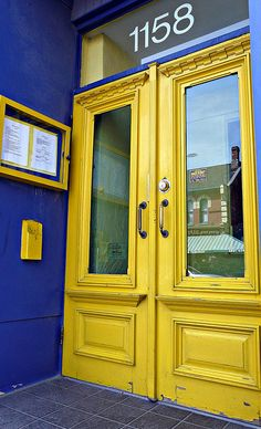 Bold blue and yellow in Toronto, Canada. travel. Canada. doors of the world.  yellow door.