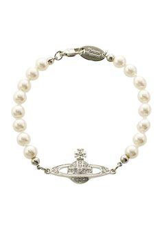 Vivienne Westwood Mini Bas Relief Pearl Bracelet Crystal