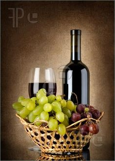 Wine & Grapes in a Basket