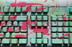 computer keyboard paint splatter pink green keys type typewriter