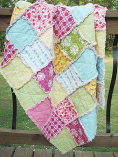 baby rag quilt, sorbet