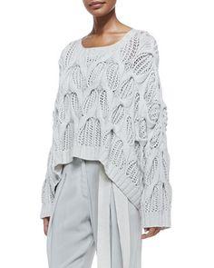 Donna Karan Cashmere Oversized Boat-Neck Sweater & Pleated Cuffed Sash-Belt Pants
