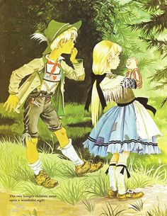 """Illustration by Janet and Anne Grahame Johnstone for """"Hansel and Gretel"""", from 'A Book of Fairy Tales', published by Dean & Son Ltd. of London, 1977."""