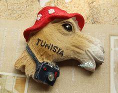Resin Fridge Magnet, Hand Painted, 7 x 6 cm, Tunisia Mr.Camel