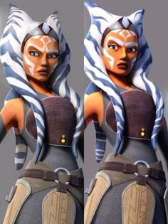 Clone Wars Style Adult Ahsoka and Star Wars Rebels appearance; I personally like Ahsoka's Star Wars Rebels look although the one on the left is more similar to her look in the Clone Wars.