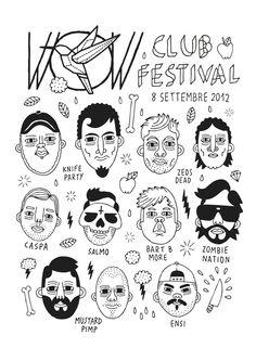 T-shirt design for WOW CLUB FESTIVAL by Johnny Cobalto, via Behance