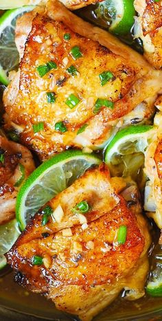Pan-Roasted Cilantro Lime Honey Chicken Thighs Honey Chicken Thighs, Cooking Chicken Thighs, Honey Lime Chicken, Roasted Chicken Thighs, Baked Chicken, Chicken Skin, Cilantro Lime Chicken, Chicken Legs, Best Chicken Thigh Recipe
