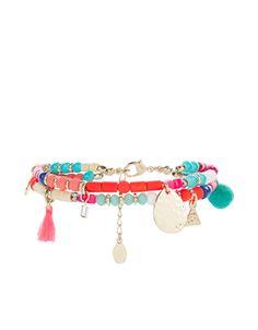 Bracelet à fermoir orné de pompons et de perles Havana   Multicolore   Accessorize
