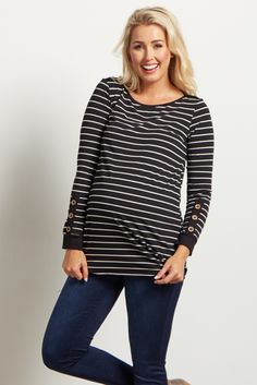 Add this maternity top to the list of must-haves this season! With its cute button accent and stripes, this maternity top is perfect to show off your growing bump from week to week. Pair with your favorite pair of maternity jeans for a complete look.