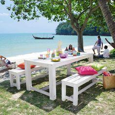 Table + 2 bancs de jardin en bois blanche L 180 cm