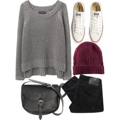 A fashion look from January 2013 featuring rag & bone/JEAN sweaters, Converse sneakers and H&M hats. Browse and shop related looks.