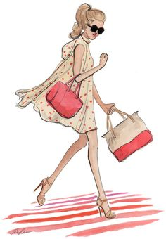 """""""a sketch of my favorite look from the new kate spade collection. i had the honor of sitting on a chic black and white ottoman mere feet from the colorful crisp new looks this afternoon at the spring 2012 presentation while deborah lloyd described the inspirations for the designs."""" - inslee"""
