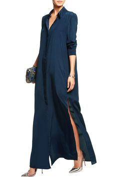 SaloniHolly silk-satin maxi shirt dressfront
