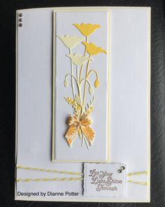 By Dianne Potter:Memory Box Prim Poppy die,docrafts bakers twine,LOTV sentiment stamped onto Spellbinders Deckled Edge rectangle die.