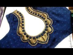 easy blouse designe cutting and stitching at home 2017 Cutwork Blouse Designs, Patch Work Blouse Designs, Blouse Back Neck Designs, Fancy Blouse Designs, Dress Designs, Designer Blouse Patterns, Sleeve Designs, Blouse Models, Frock Models