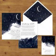 STARRY NIGHT Celestial Wedding Invitations—add a pick up truck in foreground Marie's Wedding, Galaxy Wedding, Starry Night Wedding, Moon Wedding, Celestial Wedding, Space Wedding, Wedding Themes, Wedding Decor, Dream Wedding