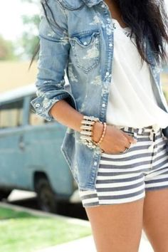 Navy and white stripped shorts with white tee and light-wash denim shirt