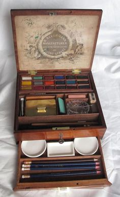 Antique Water Colour Color Paint Box R Ackerman c.1875 Mahogany Watercolour Watercolor