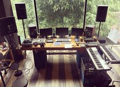 Music studio interior design desks ideas for 2019 Home Recording Studio Setup, Home Studio Setup, Music Studio Room, Studio Table, Studio Interior, Recording Booth, Studio Ideas, Interior Design, Home Music