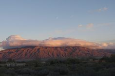 The Sandia Mountains  at sunset, viewed from Corrales, NM.  Sandia means watermelon.