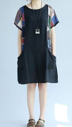 Women loose fit over plus size patchwork pocket dress tunic pregnant maternity #Unbranded #dress #Casual