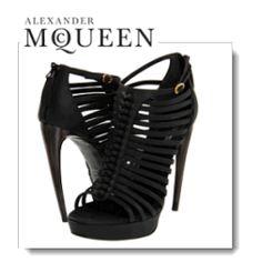 Alexander McQueen Black Sandal S. Cuoio Cage