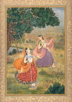 Maidens Welcoming the Arrival of Shravana, Mughal Miniature Painting on Paper Mughal Miniature Paintings, Mughal Paintings, Indian Art Paintings, Abstract Paintings, India Painting, Silk Painting, Painting Tips, Painting Art, Watercolor Painting