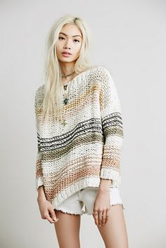 Free People - Awash in Stripes Pullover #freepeople