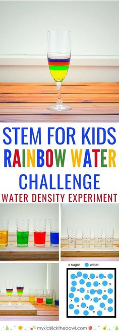 Make a Rainbow in a Glass Fun Science Experiment is part of Kids Crafts Food Science Experiments Rainbow Water STEM Challenge for kids water density science experiment using food colouring sugar an - Science Week, Stem Science, Science For Kids, Science Centers, Summer Science, Physical Science, Science Education, Earth Science, Cool Science