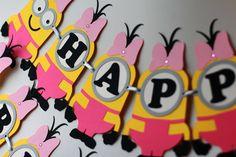 Girl minion birthday banner Girl minions party supplies Despicable me birthday…